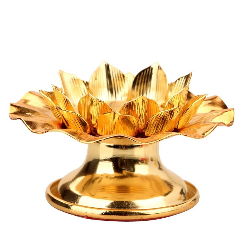 Fournitures bouddhistes de bougeoirs d'alliage de support de lampe de bougie de Lotus
