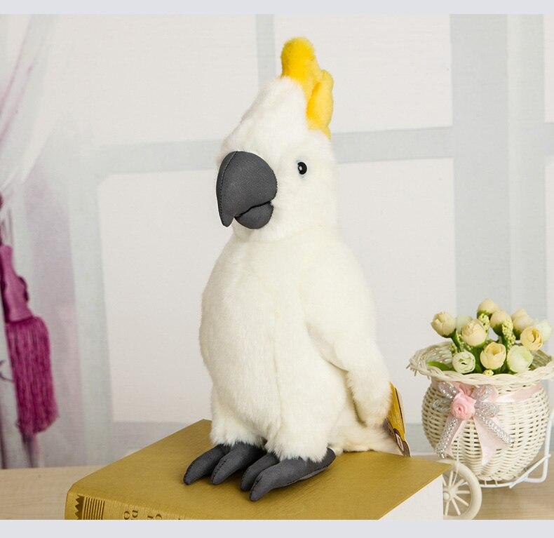 Jouet en peluche oiseau Cockatoo réaliste 25 cm perroquet blanc jouets en peluche Macaw poupées en peluche cadeaux pour enfants garçons filles