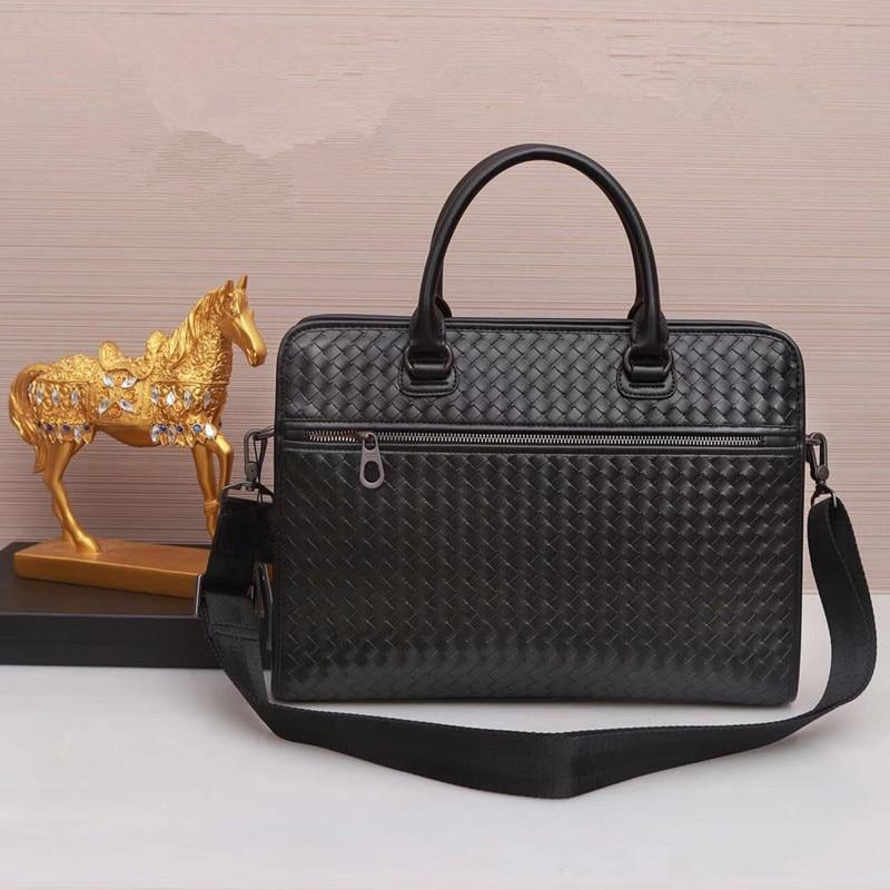 Kaisiludi leather woven men's bag handbag horizontal men's briefcase computer bag business bag oblique cross bag