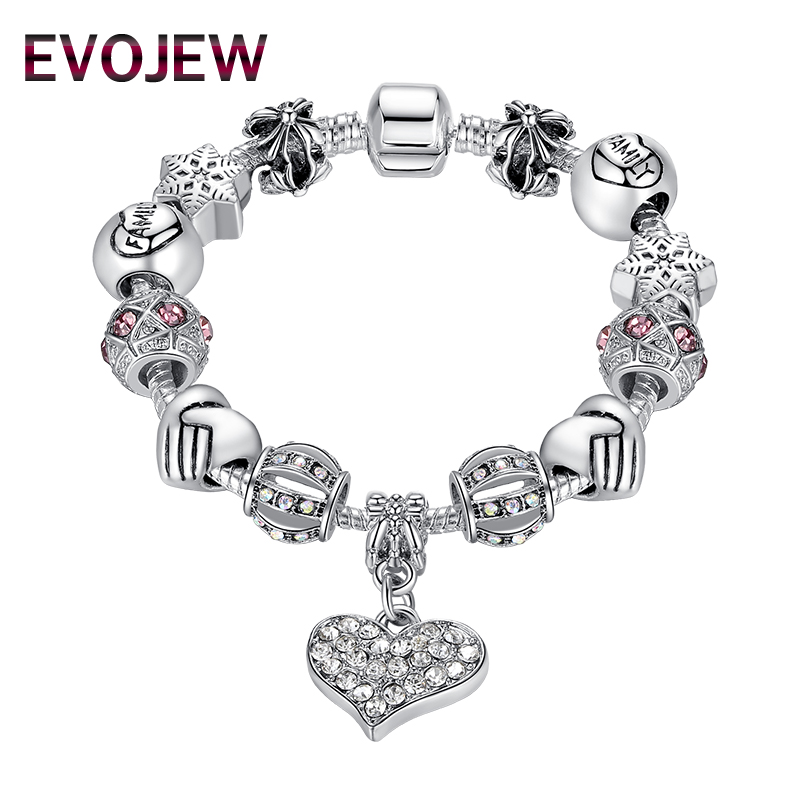 EVOJEW Silver Color Mothers Day Friendship Charm Bracelet With Heart Pendant Murano Glass Beads For Women Jewelry Accessories ...