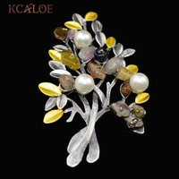 Tree Design Vintage Brooches Colorful Natural Stone Fashion Imitation Pearl Safety Pin Brooch Retro Accessories Pines