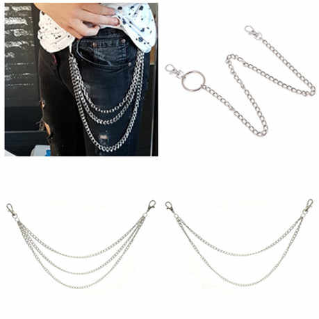 Belt Chain 1Layer/2Layer/3Layer Rock Punk Hook Trousers Pant Waist Link  Metal Wallet Silver Chain Fashion Men Jewelry