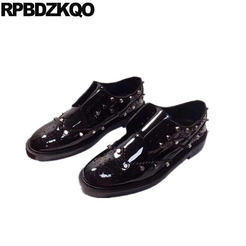 b455e5651e Detail Feedback Questions about round toe rivet patent leather runway women  designer shoes china handmade oxfords flats brogue stud genuine black  luxury ...