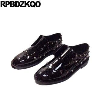 round toe rivet patent leather runway women designer shoes china handmade oxfords flats brogue stud genuine black luxury lace up