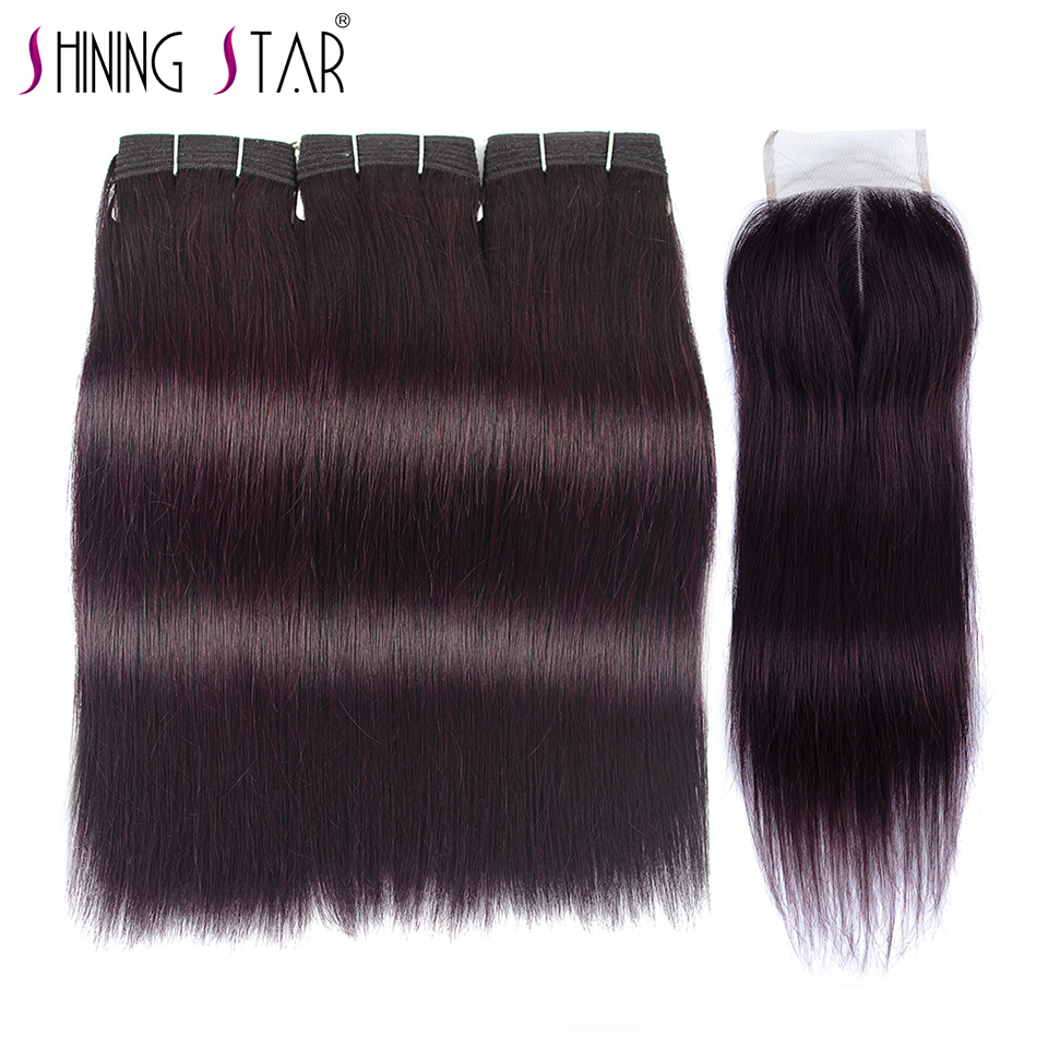 Dark Red Purple Human Hair Weave Bundle With Closure Purple Colored 3 Bundles With Closure Peruvian