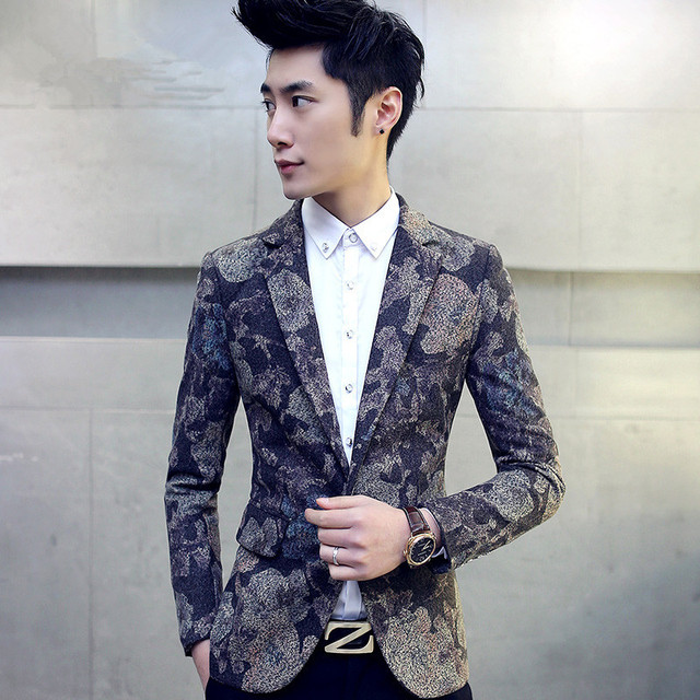 965d8d5571b5 2017 New Style Floral Blazers Male Fashion Pattern Slim Fitted Prom Blazers  One Button Suit Jacket