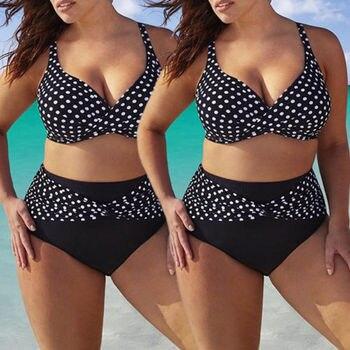 Plus size Ladies Womens Bikini Set Polka Dot Cross 2Pcs Swimsuit High Waisted Triangle Swimwear Large Size Bathing Suit XL-5XL