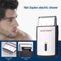 Mężczyźni USB akumulatorowa golarka akumulatorowa pojedyncze ostrze tłokowe broda Razor Mini przenośne elektryczne maszynka do golenia
