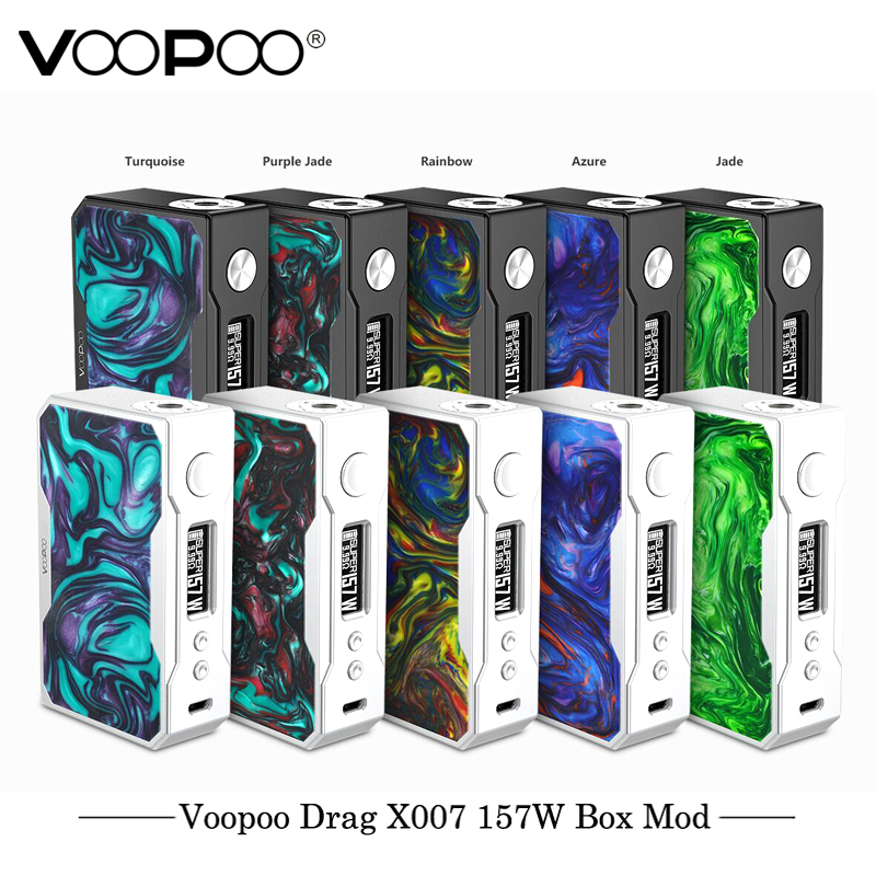 цена Original Electronic Cigarette VOOPOO DRAG 157W TC Box MOD 157W 18650 box mod Vape with US GENE chip TC Resin Box mod E Cigarette
