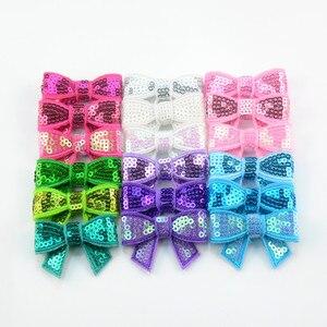 Image 3 - 120 unids/lote 37 colores U Pick 1,8 Petite Glitter bordado lentejuelas arcos DIY recién nacido diadema ropa zapatos accesorios HDJ108