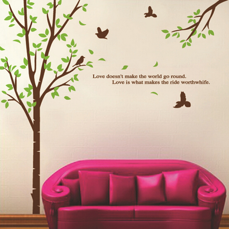 Green Leaves Tree Birds Wall Decal Home Sticker Paper Art Picture DIY  Murals Kids Nursery Baby Room TV Background Decoration In Wall Stickers  From Home ...