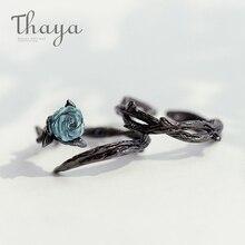 Thaya gül dikenli s925 gümüş yüzük mavi kristal gül çiçek Vintage bitki sevgililer hediye kadınlar düğüm siyah ince takı