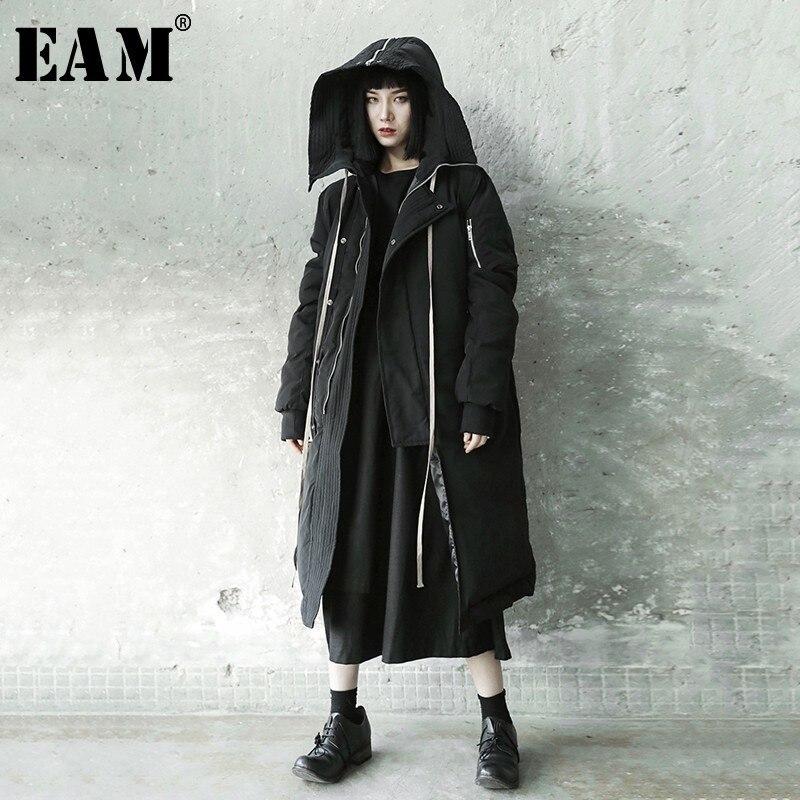 [EAM] 2019 New Spring Winter Hooded Long Sleeve Black Irregular Loose Big Long Cotton-padded Coat Women   Parkas   Fashion JL289