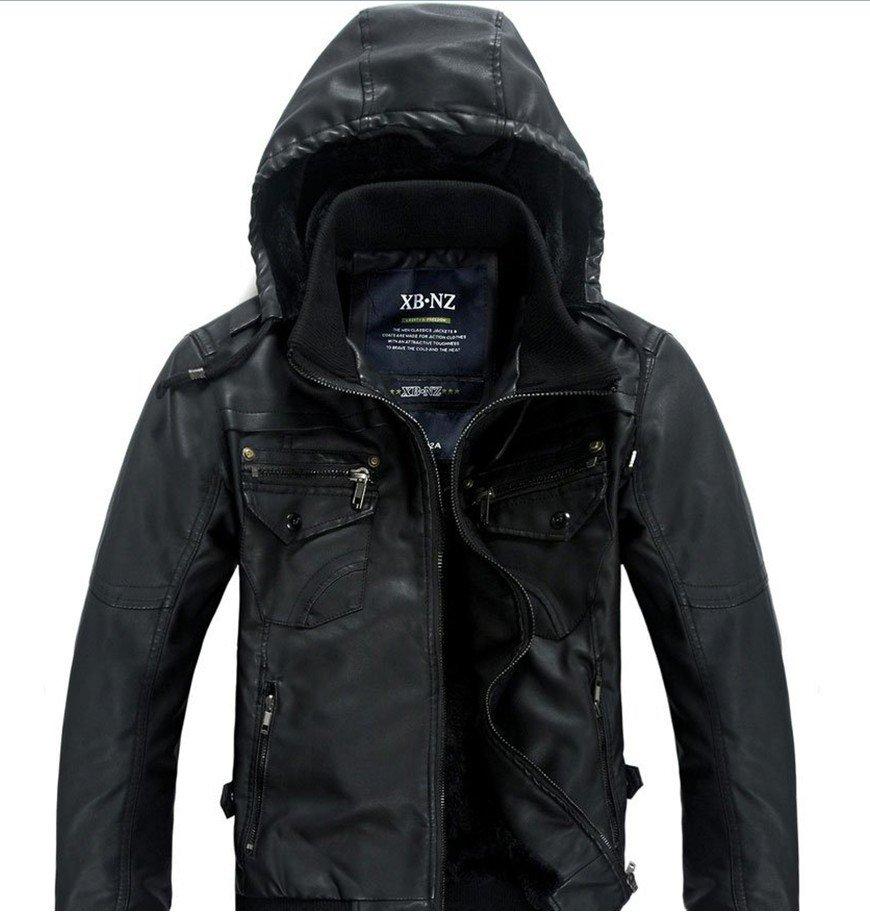 Men's leather bomber jacket with hood – Modern fashion jacket ...