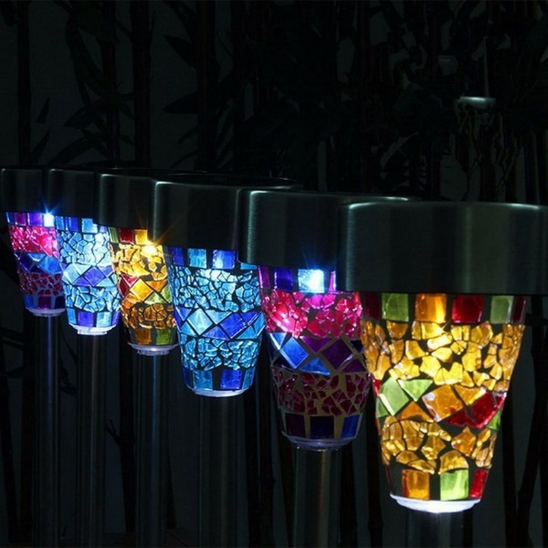 Solar LED Path Colorized Light Outdoor Garden Lawn Stainless Steel Spot Lamp Mosaic Glass Lamp