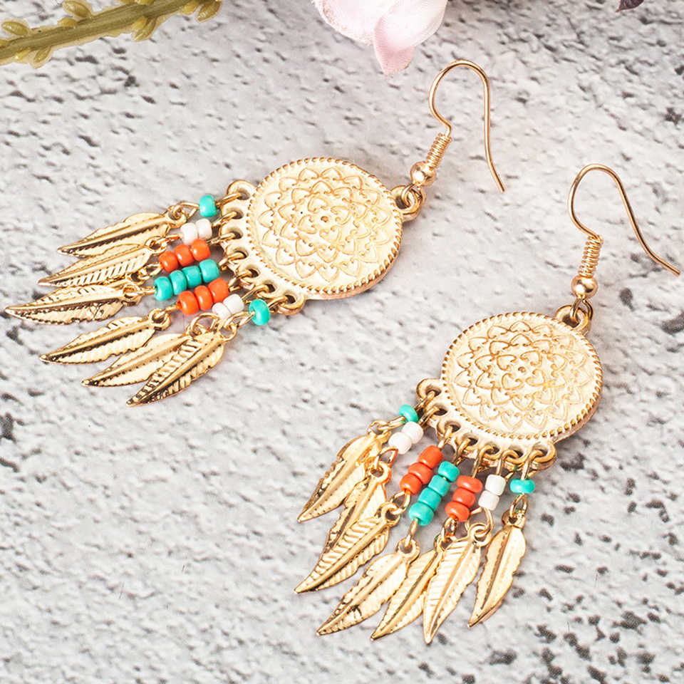 Ethnic Circle Round Hanging Drop Earrings Women Boho Bohemian Gold Color Leaf Leaves Acrylic Beeds Hiphop Brincos Boho Jewelry