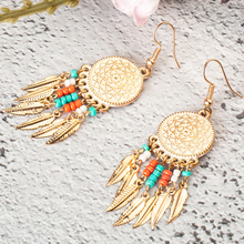 Ethnic Circle Round Hanging Drop Earrings Women Boho Bohemian Gold Color Leaf Leaves Acrylic Beeds Hiphop Brincos Jewelry