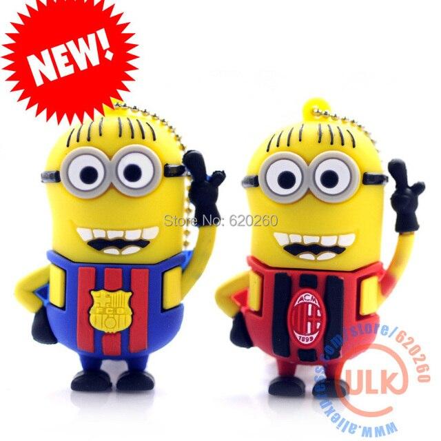 Nuevos Minions Despicable Barcelona Milán 2.0 flash drive pendrive 4 GB 8 GB 16 GB 32 GB USB Flash Drive Pen Drive, envío Gratis
