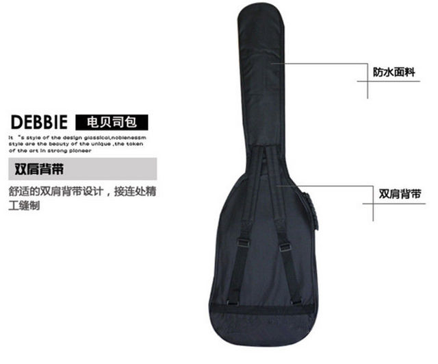 ca507457663 Soft Double Straps Backpack Black Nylon Padded Electric Bass Case Sturdy Guitar  Bag