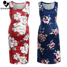 Chivry 2019 Fashion Women Maternity Dress Sleeveless O-neck Floral Print Pregnancy Sundress Pregnant Women Dresses Vestidos