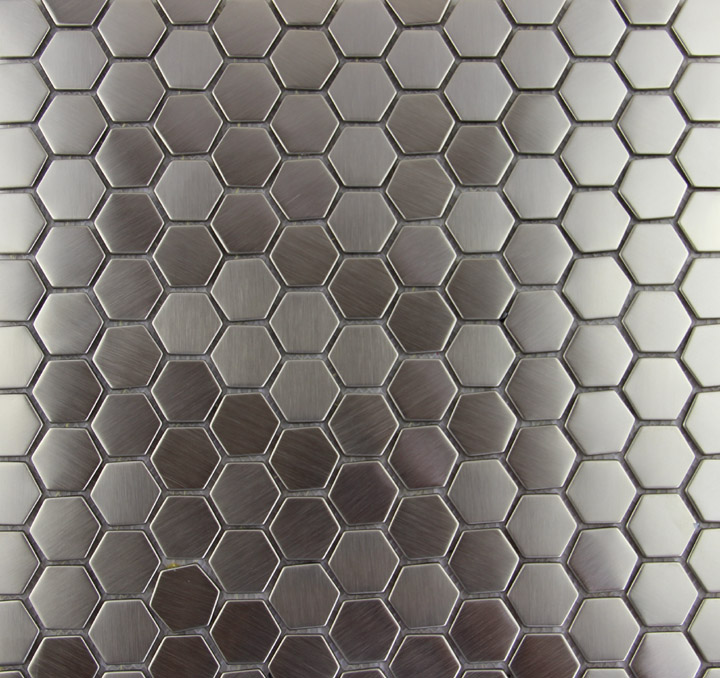 hexagon edelstahl metall mosaik fliesen k che backsplash. Black Bedroom Furniture Sets. Home Design Ideas