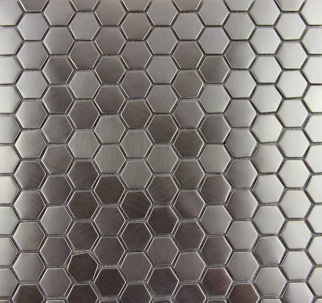 Hexagon Stainless Steel Metal Mosaic Tile Kitchen