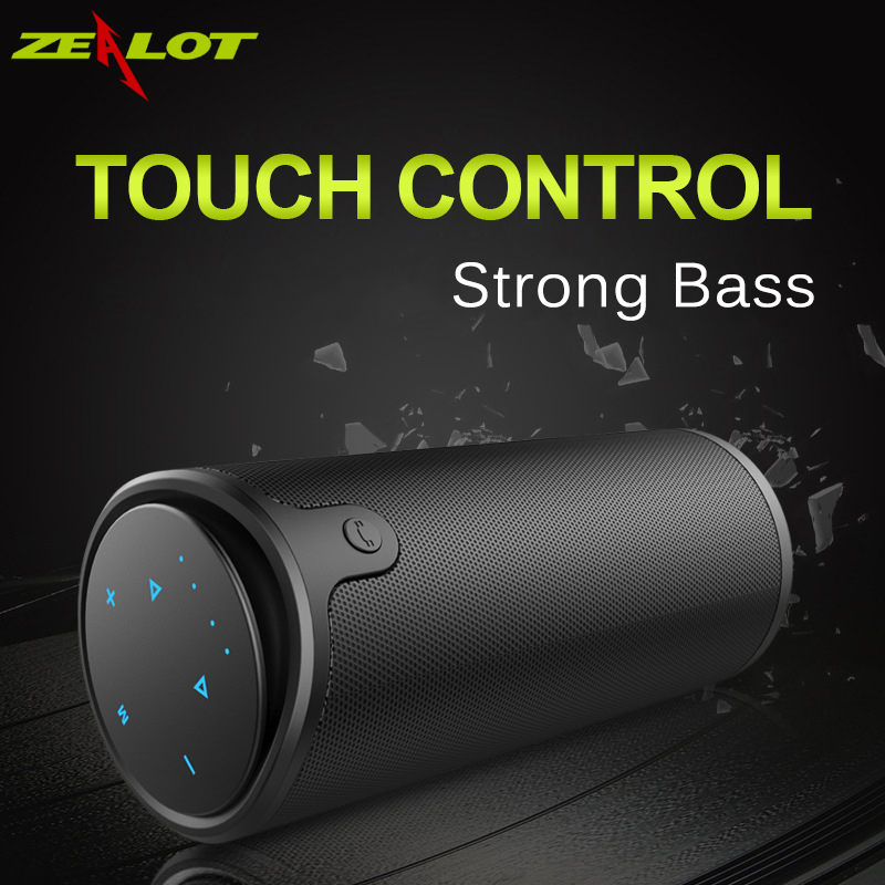Zealot S8 Portable Wireless Bluetooth Speaker Touch Control Sport Bicycle HiFi Stereo Car Column Subwoofer Support TF Card AUX t050 3w mini portable retractable stereo speaker w tf black golden 16gb max