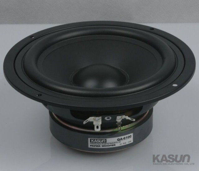1PCS Kasun QA-6100 6.5inch Midrange Speaker Driver Unit Black PP Cone 8ohm 130W Fs=48Hz D178mm Round Frame