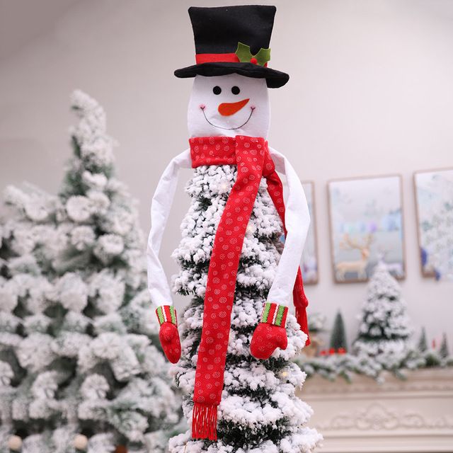 Us 8 49 15 Off High Quality Snowman Christmas Tree Topper Adornos De Navidad 2018 New Fairy Fleece Hugger Top Hat Of Christmas Tree Decoration In