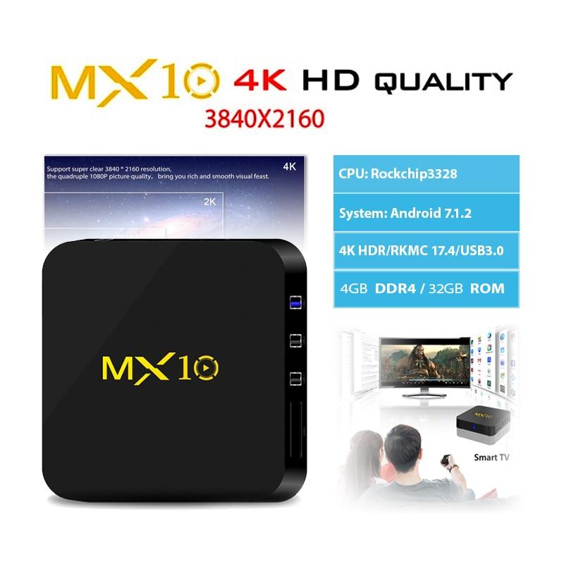 MX10 Android 7.1 4K TV Box 4GB RAM 32GB ROM RK3328 Quad Core 2.4Ghz WIFI BT4.0 Set-Top BOX Smart Media Player pk X96 x92 h96