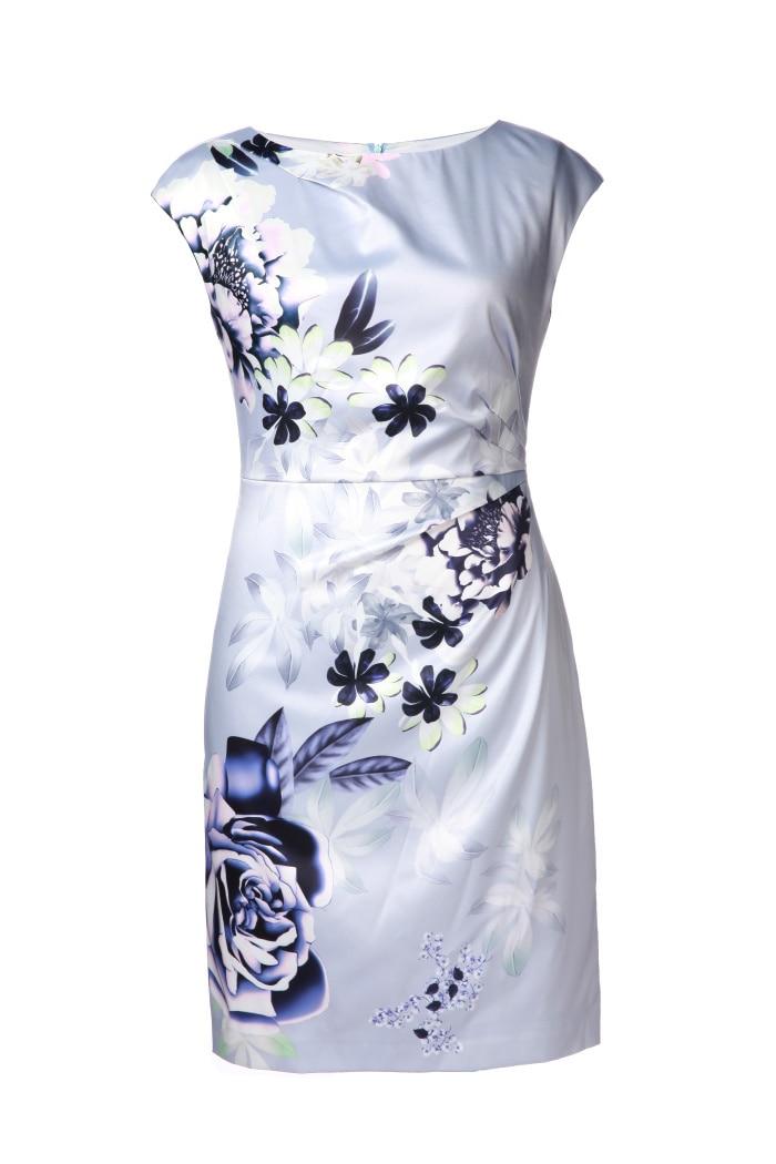 65108ac060e01 Venta caliente 2016 mujeres imprimir vestido moda o-cuello trabajo Vestidos