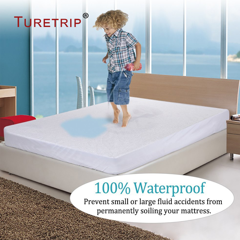Turetrip 160X200CM Cotton Terry Waterproof Mattress Cover Fitted Sheet Style Mattress Protector For Foam Mattress Bed Cover