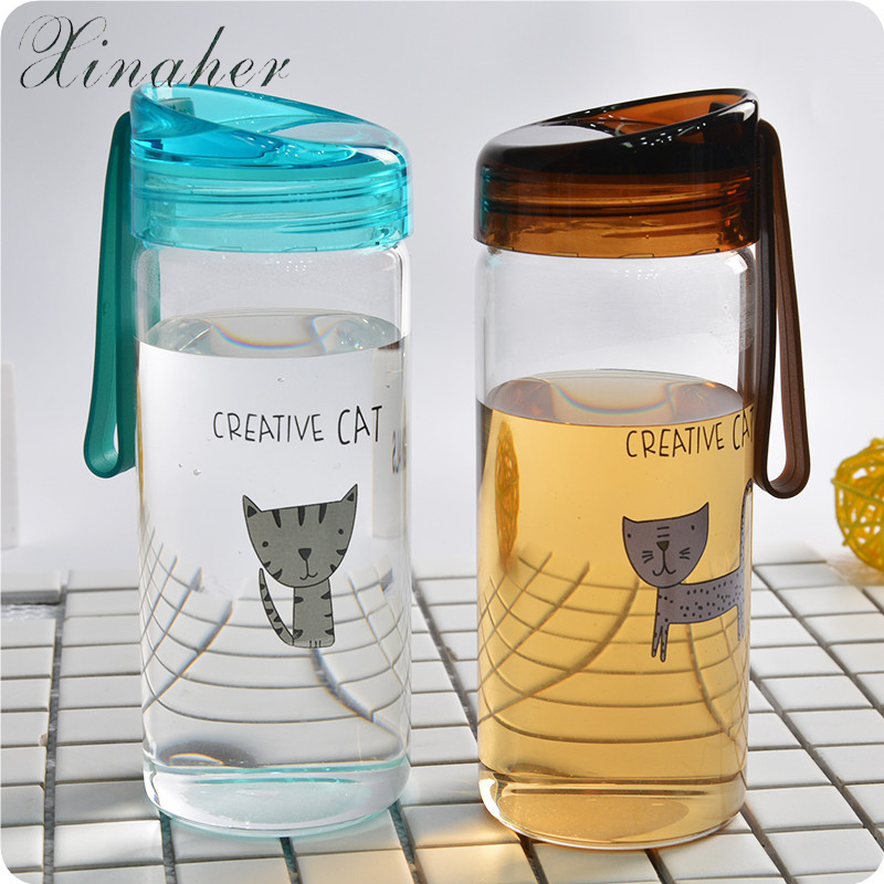 XINAHER Cartoon cat Water Bottle Travel Camping Lemon Juice Drinkware Readily Spac Impregnable Kettle First-class 400ML