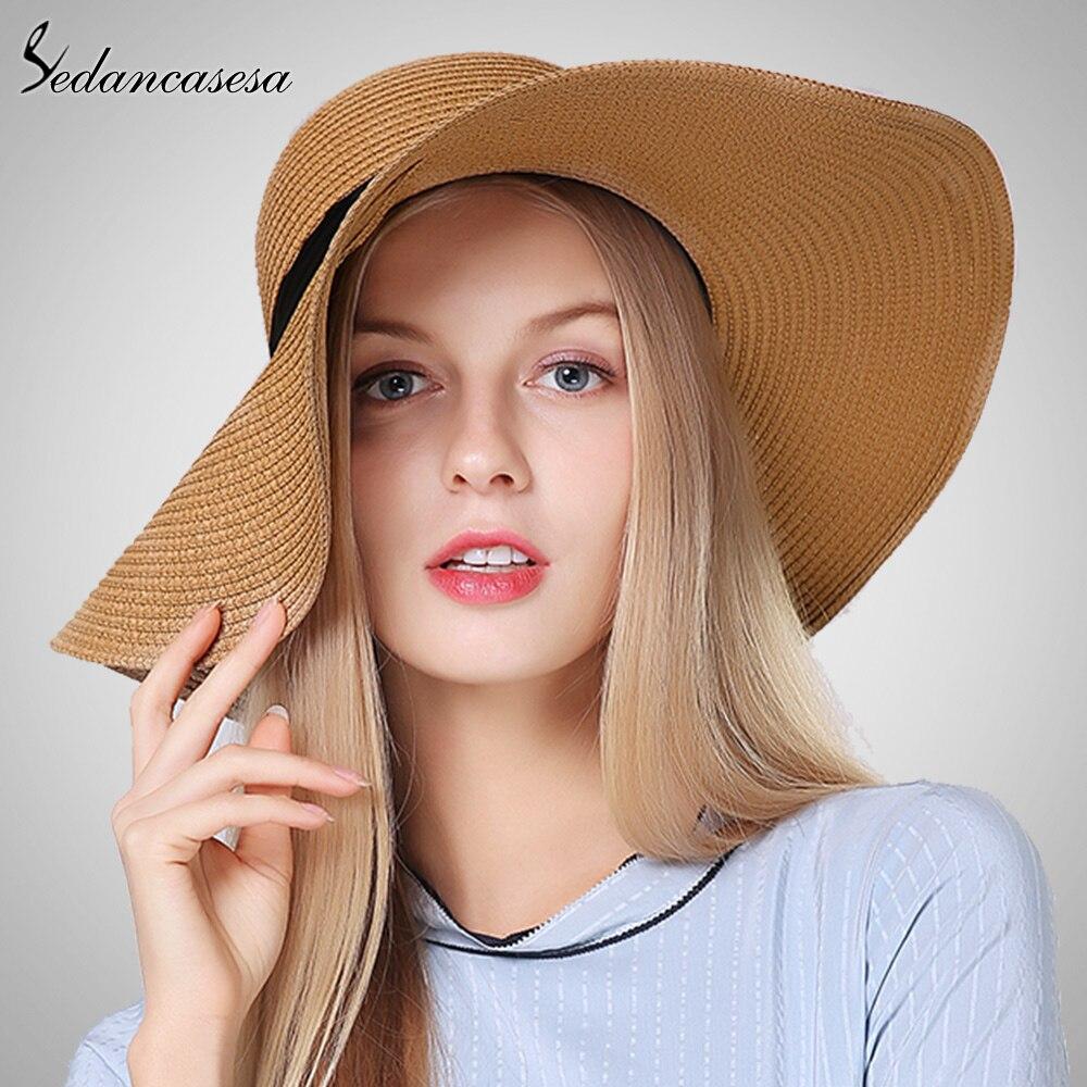 3cf6ac8b67d 2018 Summer Women Floppy Simple large brimmed straw hat lady girls Folding  Solid Beach Hats adults sun hat