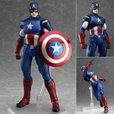 The Avengers Captain America Anime Figure Figma 226 16cm Boxed Marvel Super Hero PVC Action Figure Collection Model Toy Gift new hot 27cm avengers super hero captain america enhanced version action figure toys doll collection christmas toy with box