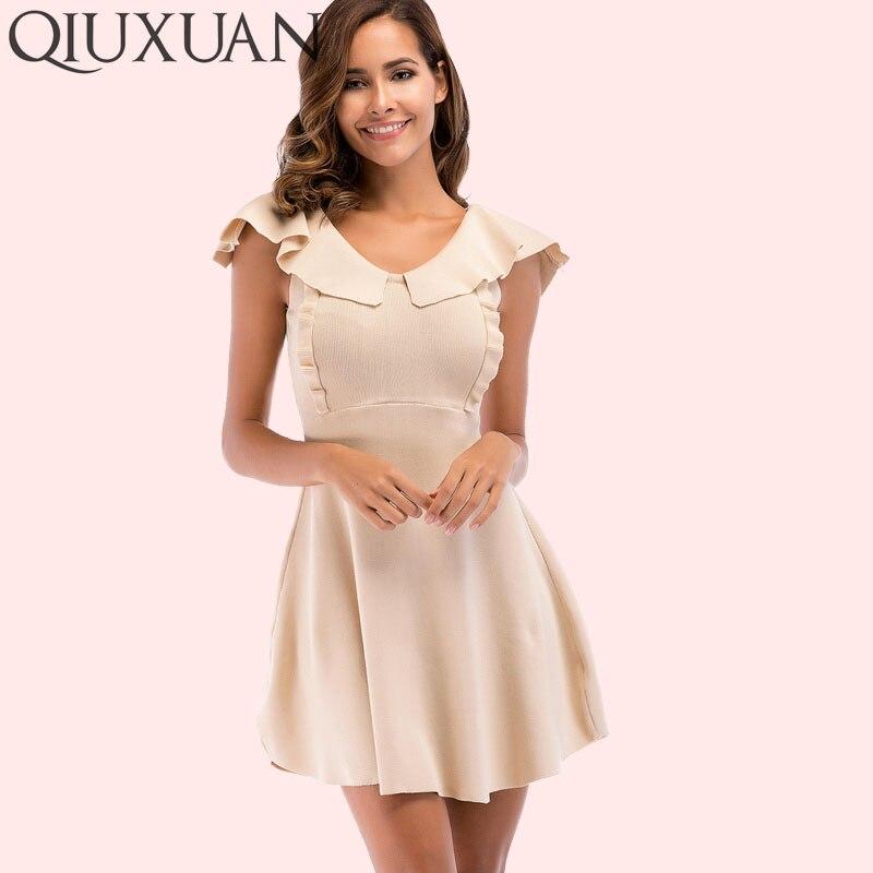 cb04a720c QIUXUAN Jersey Knitted Sleeveless Dress Fashion Ruffles Flutter Sleeve Dress  Double V Women Fit and Flare Dress Size M-XL
