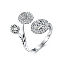 Fashion 925 Sterling Silver Ring 925 Silver Jewelry Round AAA Zircon Crystal Rings For Women Party