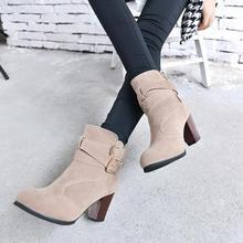 Autumn Winter Women Boots Zipper Nubuck Leather Martin Boots Botas Mujer Round Toe Square Heels Ankle Boots Buckle Chelsea Shoes