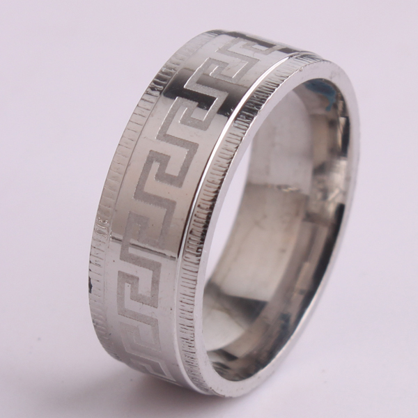 8mm silver gear edge carve great wall pattern 316l stainless steel finger rings for men wholesale - Gear Wedding Ring