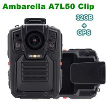 Free shipping! 32GB GPS Ambarella A7L50 HD 1296P Police Body Worn Camera IR Light 8Hours 140 degree