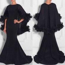 Mode Schwarz Kaftan Abendkleid 2017 Slim Mermaid Langes Abendkleid Für Frauen Mit Bolero Arabisch Dubai Formale Party Kleider