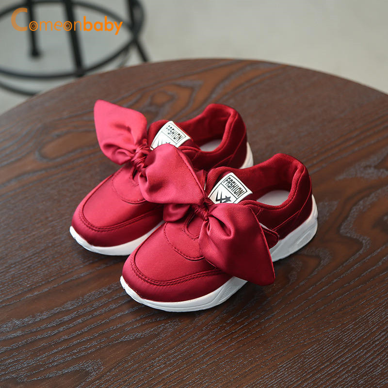 2018 Autumn Summer Baby Shoes Girl Princess Big Bow Soft Soled Flats Anti-Slip Kids Pink Red Green Flats Party Shoes