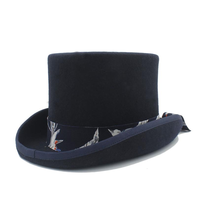 91873b4c4b368 Top Hat 13.5CM(5.31Inch) 100% Wool Women Men Fedora Top Hat For ...
