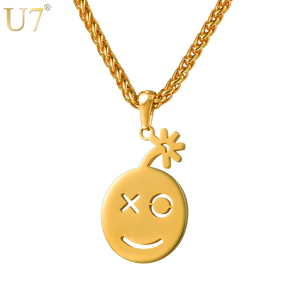 U7 New Happy Smile Face Necklaces Pendant & Chain Gold/Rose Gold Color Cute Facial Expression Women Lucky Jewelry P1161