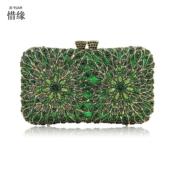 XIYUAN BRAND Evening Bags Crystal Clutches NEW Women Fashion Design Crystal Wedding Dress Storage Bag Clutch Box Case red/gold все цены
