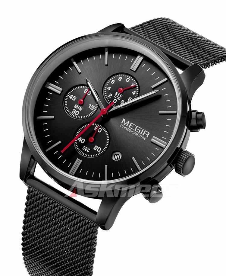 Megir Brand Men's Watch Clock reloj hombre Luxury Stainless Steel Mesh Strap Business Quartz Wristwatch Mens Watches (6)