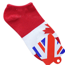 MALL Pair of Red & White Maple Leaf Canada Flag Pattern Socks For Men(China)