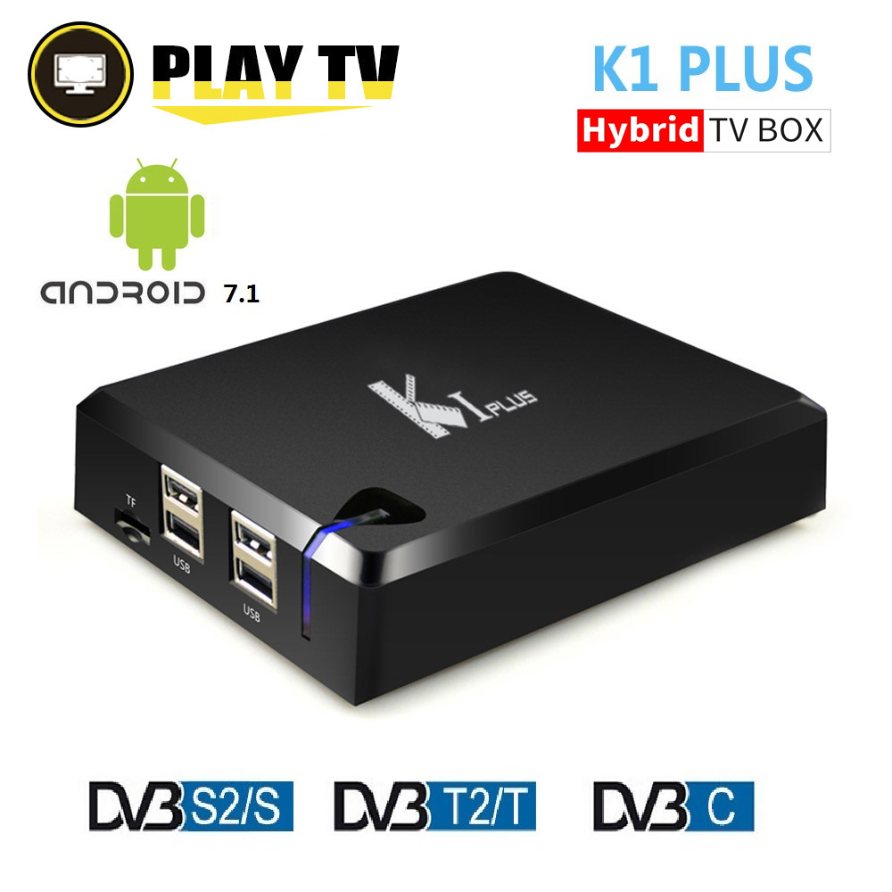 K1 PLUS Amlogic S905D Quad Core 64-bit Android 7.1 Support DVB-T2 DVB-S2 DVB-C 3 in 1 Combo TV Box Support Ccamd Newcamd 1GB 8GB latest amlogic s905 quad core 64 bit arm cortex a53 android 5 1 mx 64 tv box support kodi pre installed
