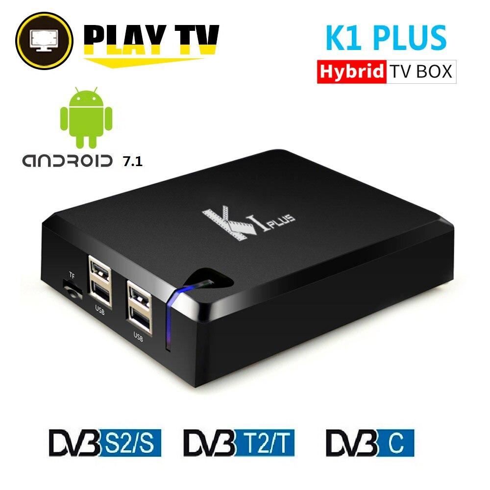 MECOOL KI плюс DVB-T2 DVB-S2 DVB-C Android 7,1 ТВ коробка 4 в 1 комбо 1 ГБ 8 ГБ Amlogic S905D 4 ядра 64bit K1 плюс 4 К телеприставке