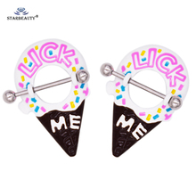 New Cute Ice Cream Shape Stainless Steel Nipple Piercing Rings 14G Pierced Clip